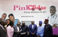 Lagos State Governor Mr. Akinwunmi Ambode (3rd right); Commissioner for Information & Strategy, Mr. Kehinde Bamigbetan (2nd right); his counterpart for Establishment, Training & Pensions, Dr. Akintola Benson (right); Chief Executive, Bridgevine Resources Limited, Mr. Okunade Ojengbede (middle); Commissioner for Health, Dr. Jide Idris (3rd left); Executive Secretary/CEO, Committee Encouraging Corporate Philanthropy (CECP), Dr. Abi Nzelu (2nd left) and Project Director, Mobile Cancer Centre, Dr. Eniola Erinosho (left) during the donation of the Mobile Clinic Cancer Centre at the Lagos House, Alausa, Ikeja, on Wednesday, February 14, 2018.